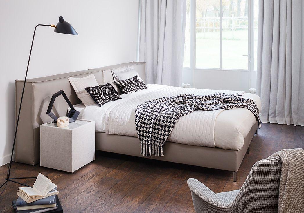Bed casual box casual en hoofdbord casual plus in stof laser