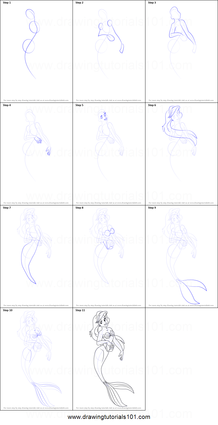 Uncategorized How To Draw A Mermaid Step By Step For Kids how to draw princess ariel from the little mermaid bayleef pokemon step by printable drawing sheet print learn pokemon