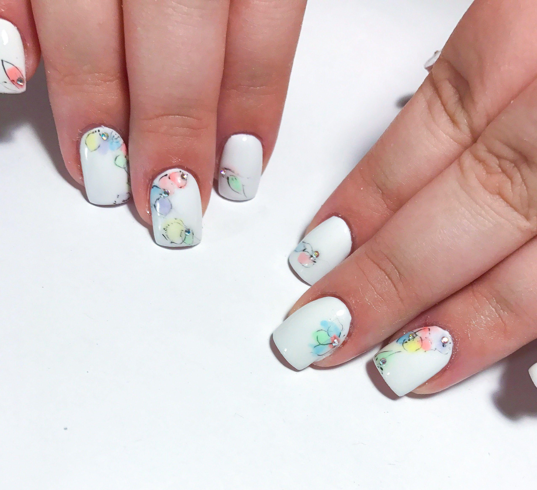 Short White Nails With Watercolour Nail Art Water Color Nails Easy Nail Art Nails
