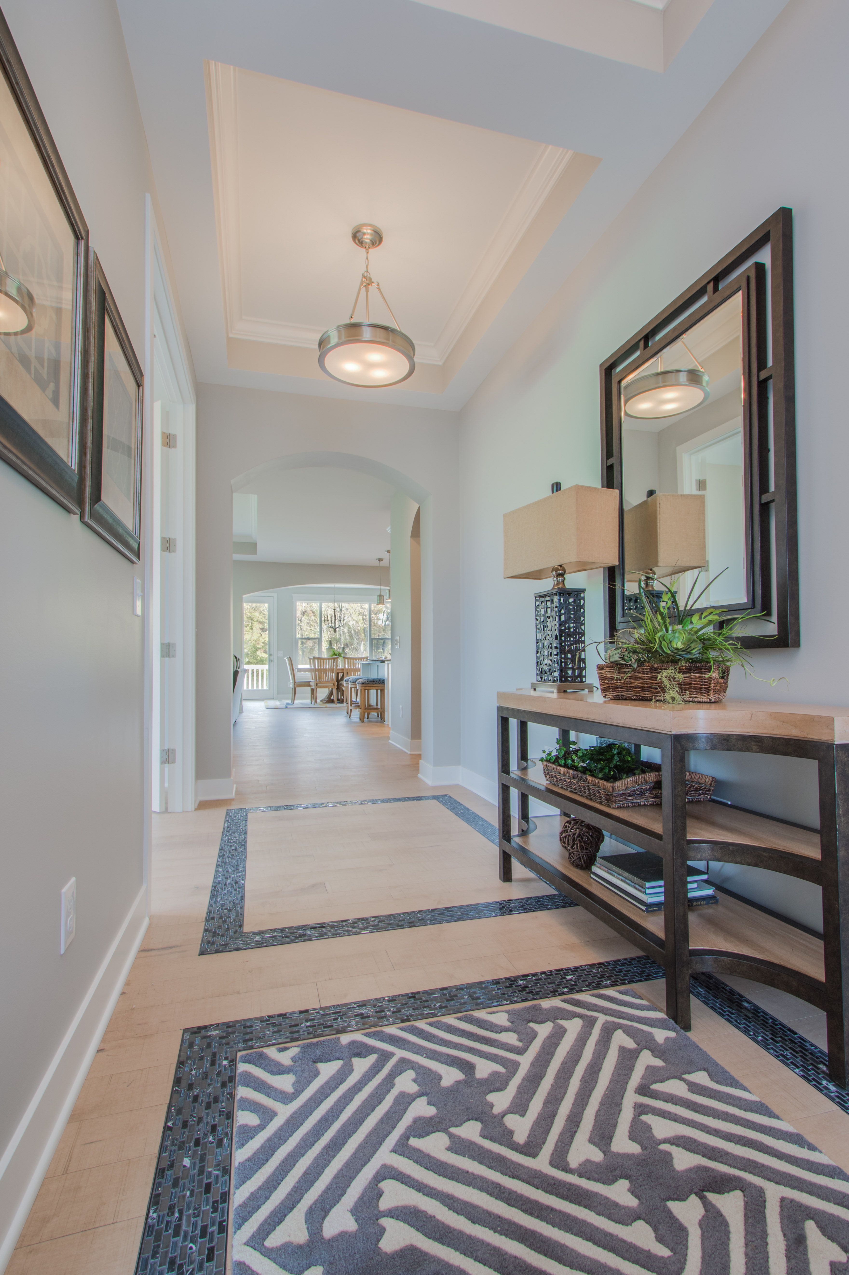 Oakland hills ceramic tile floors coffer and tile flooring foyer natural finish maple hardwood floors ceramic tile floor inlay coffered ceiling with dailygadgetfo Image collections