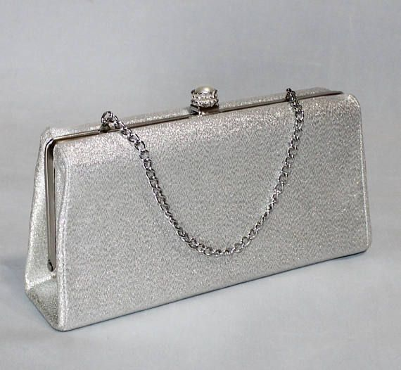 Beautiful Vintage Silver Lame Clutch with Chain
