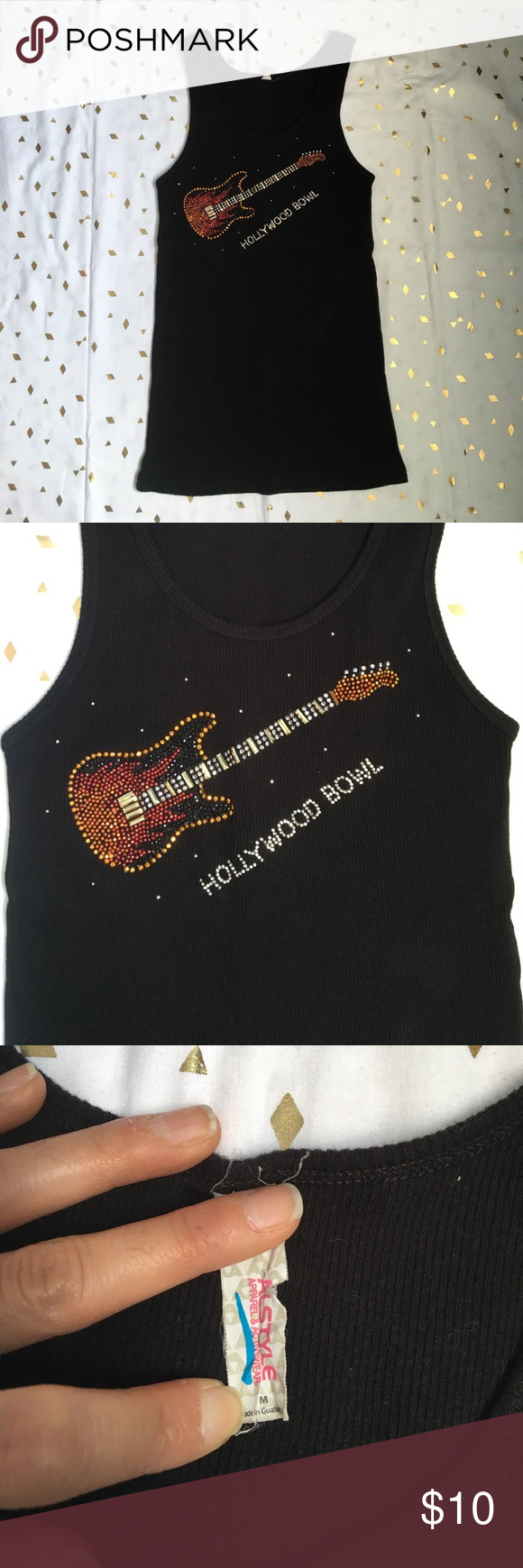 """Hollywood Bowl Guitar Studded Tank Black ribbed tank. Studded guitar with Hollywood Bowl underneath. 12"""" from pit to pit and 24"""" in length. There is stretch to it. Tops Tank Tops"""