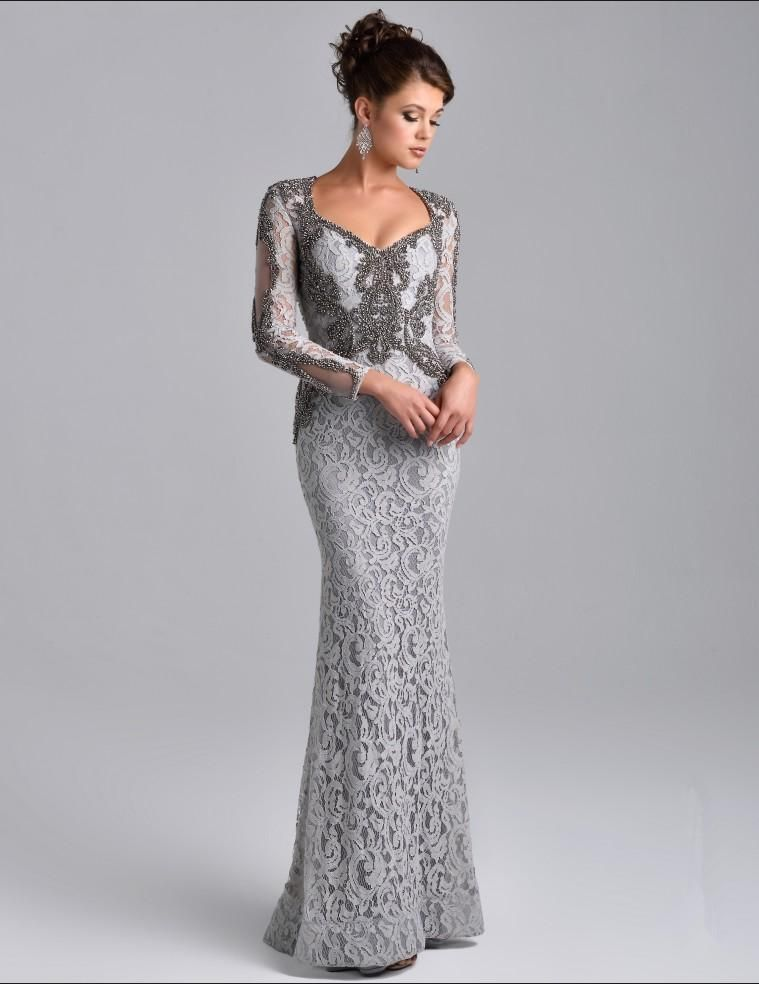 db997f045e3 Mother Of The Bride Short Dresses Long Sleeve Mother Of The Bride Dresses  Grey Lace Overlay Beaded Elegant Mermaid Mother Formal Party Dresses Long  Evening ...