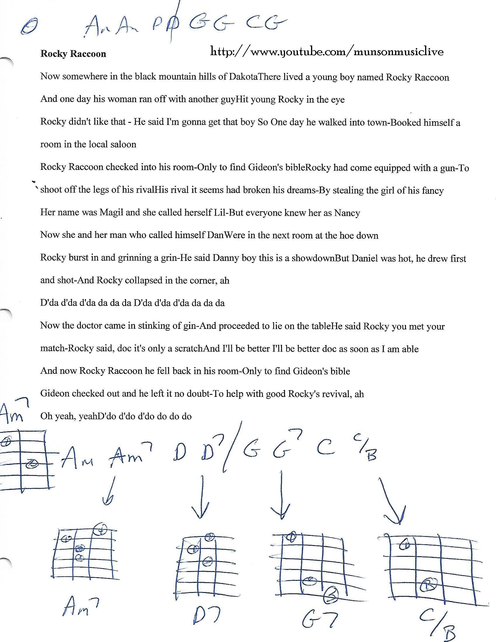 Rocky Raccoon The Beatles Guitar Chord Chart Guitar Lesson Chord