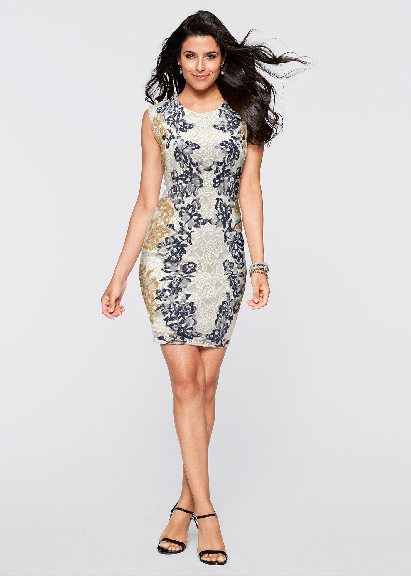 df4857a90b Vestido de renda branco-creme azul encomendar agora na loja on-line  bonprix.de R  139
