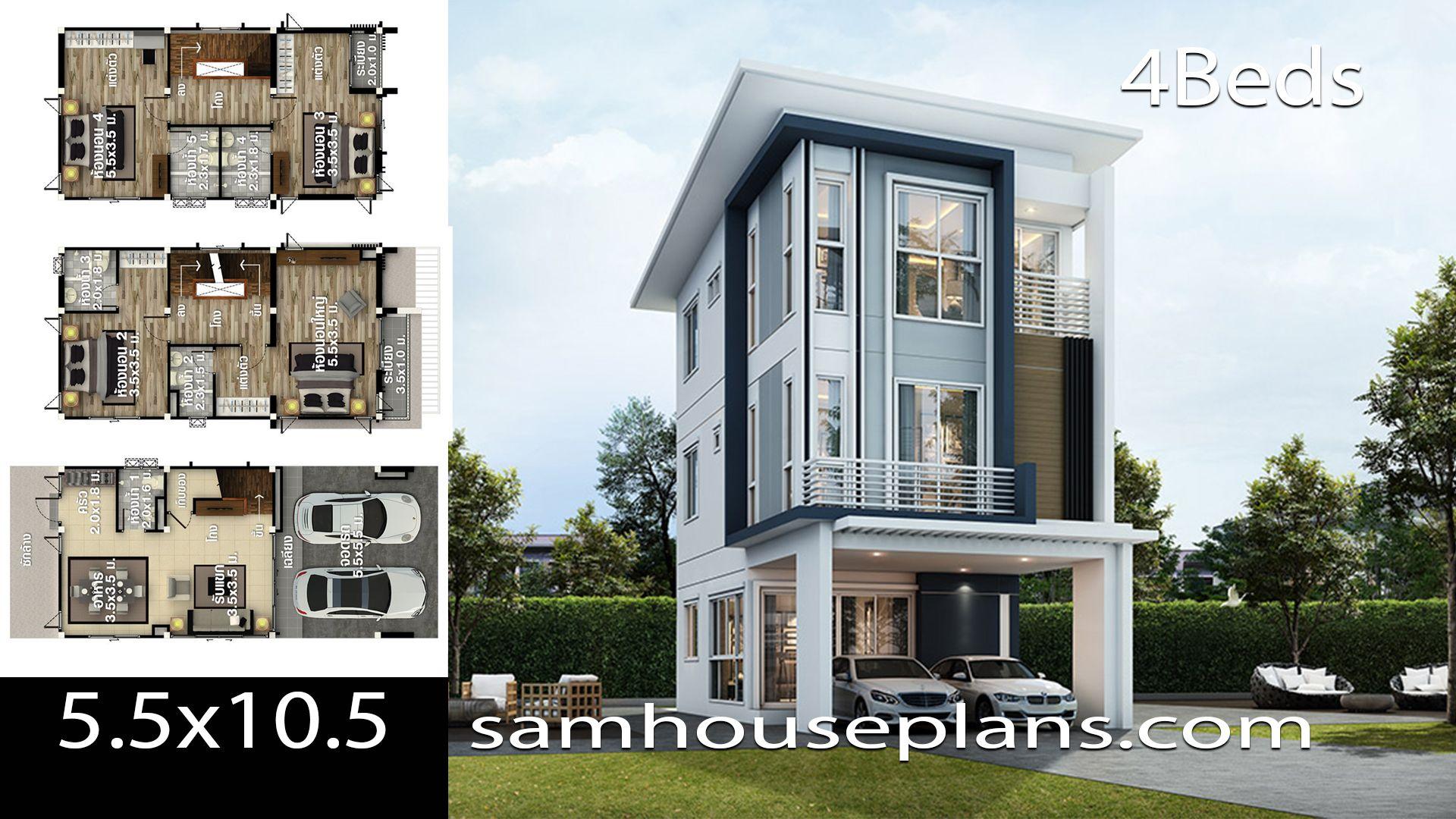 House Plans Idea 5 5x10 5 With 4 Bedroomsthe House Has Building Size M X M 5 50 X 10 50land Size Model House Plan House Layout Plans Bungalow House Design