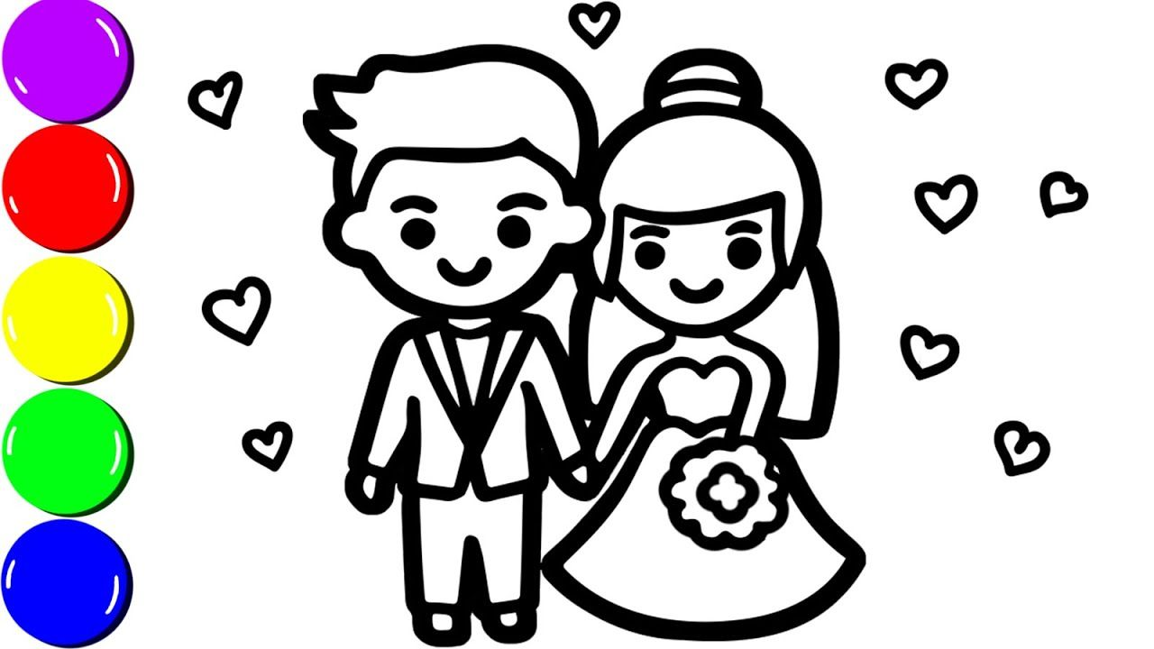 Wedding Bride And Groom Coloring Page For Kids Coloring Birthday