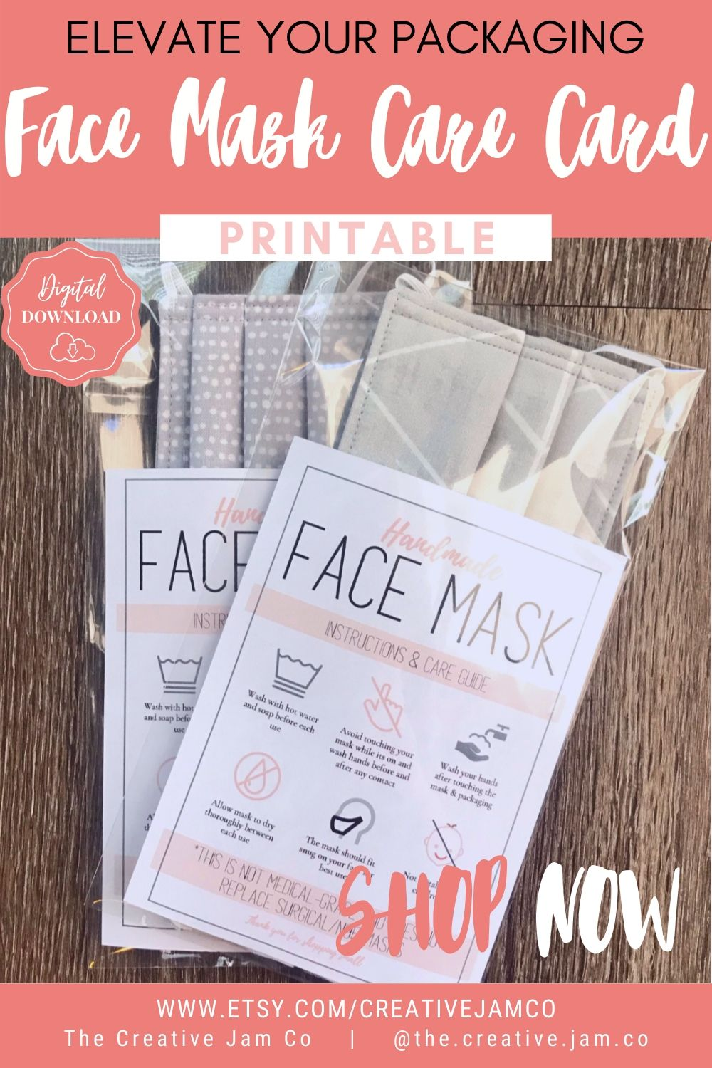 Face Mask Label Care Card How To Handle Order Card Face Mask Printable Instructions Business Labels Face Mask Seller Package Label Tag Business Labels Face Mask Small Business Packaging