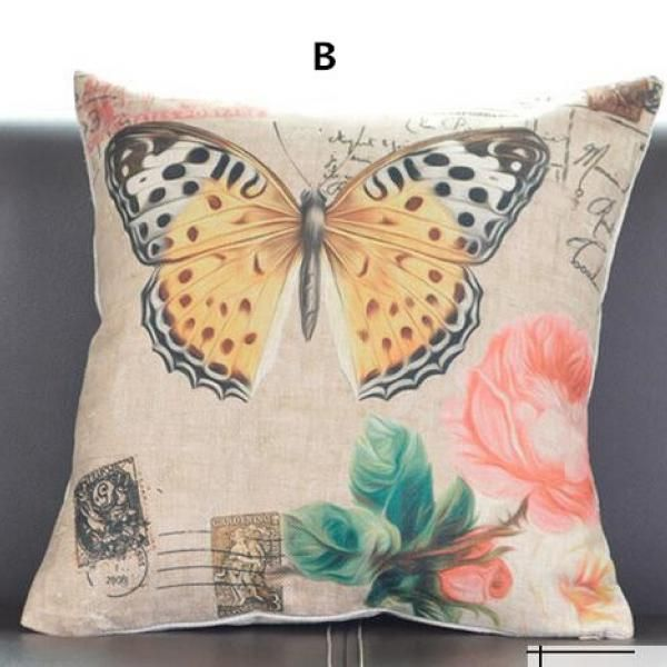 American country style butterfly throw pillow flower 18 inch cushions for sofa