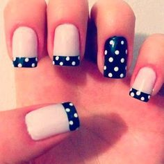 30 Adorable Polka Dots Nail Designs Uñas Francesas Uñas