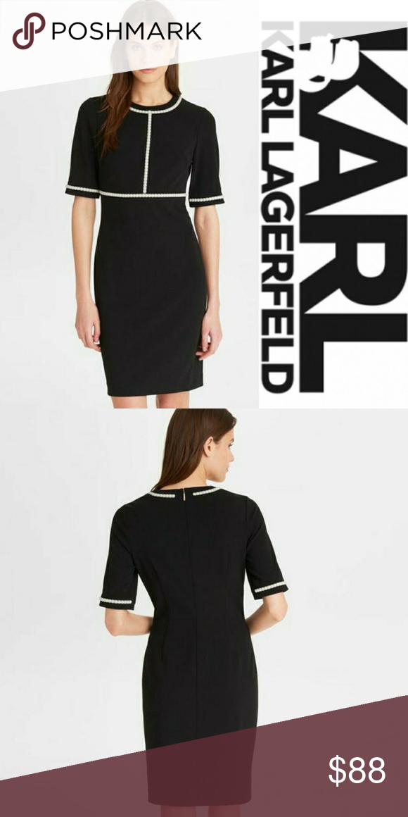 Nwt Karl Lagerfeld Black Dress With Pearl Accents Dresses Clothes Design Fashion Design