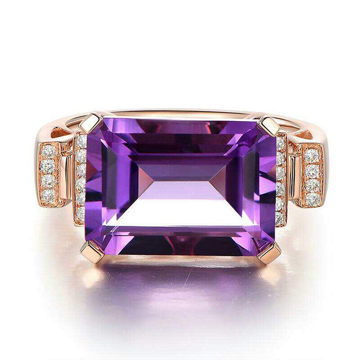 18k gold plated amethyst engagement promise lovers couples