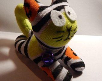 upcyle sock scaredey sock kitten halloween colors rag doll
