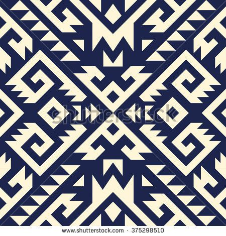 Tribal Navajo Vector Seamless Pattern Aztec Fancy Abstract Geometric Art Print Ethnic Hipster Backdrop Wallpaper Cloth Design Fabric Paper Cover