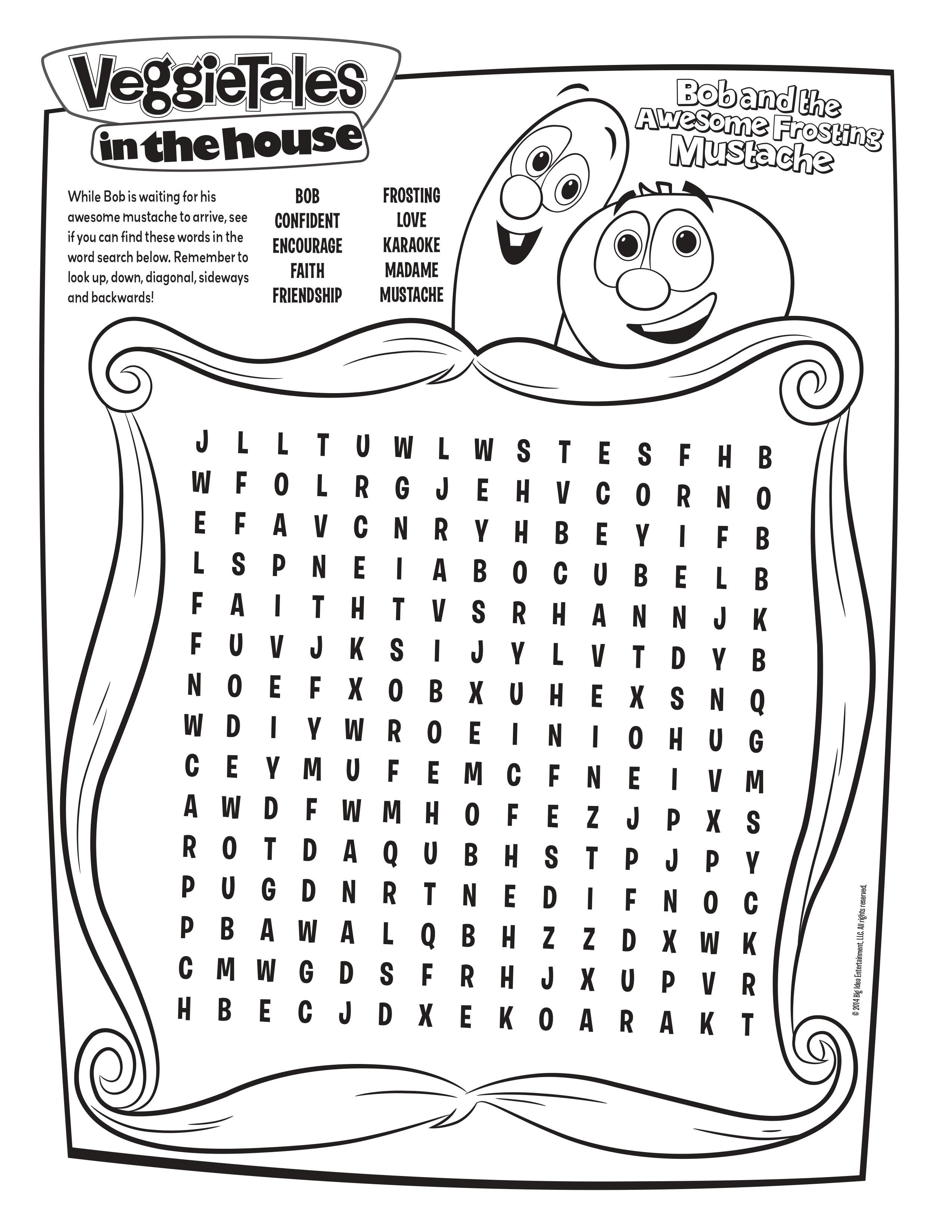 Free Veggie Tales Word Search Veggie Tales Veggietales Coloring Pages