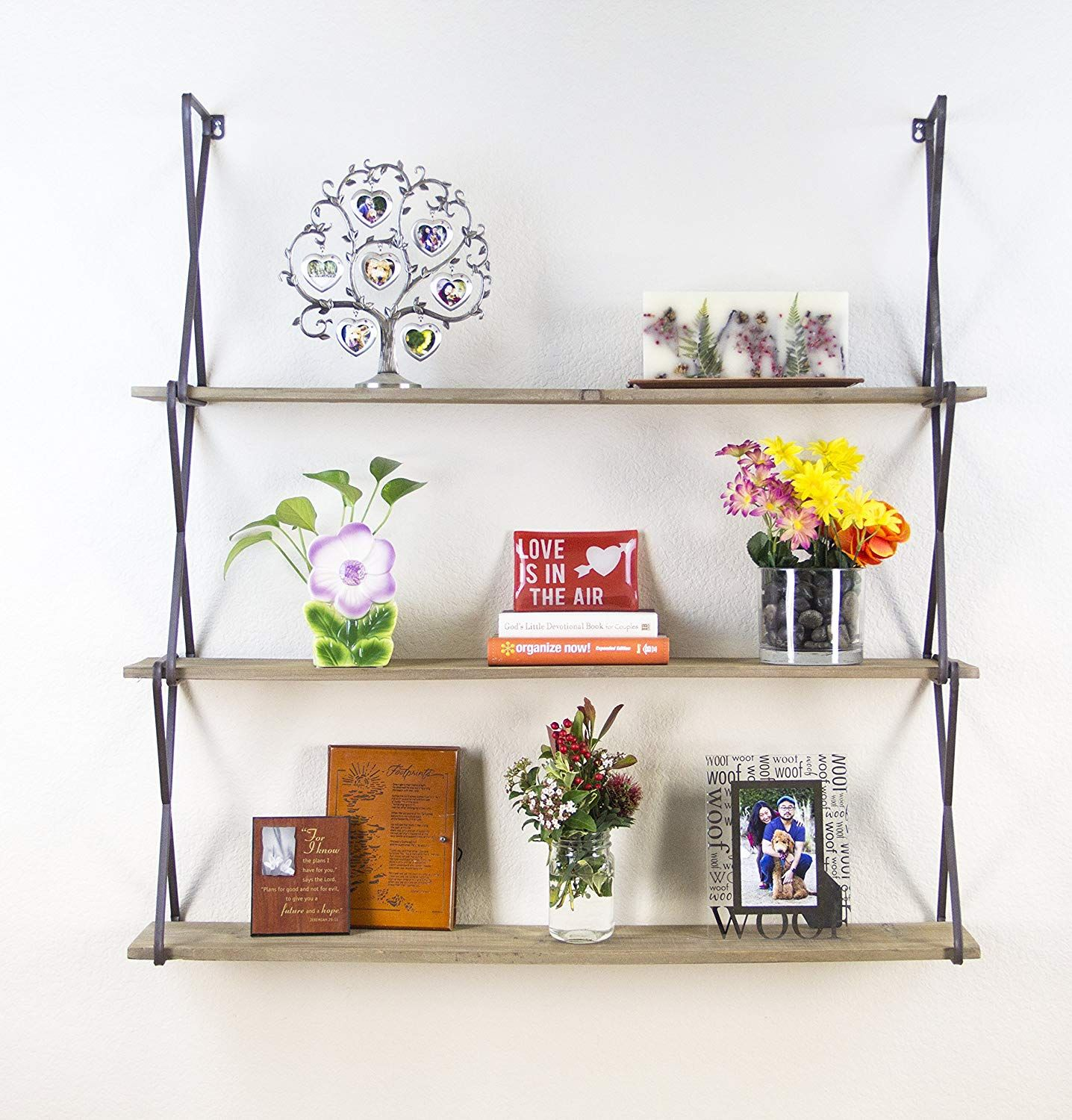 Amazonsmile Avignon Home Rustic Floating Wood Shelves 3 Tier Wall