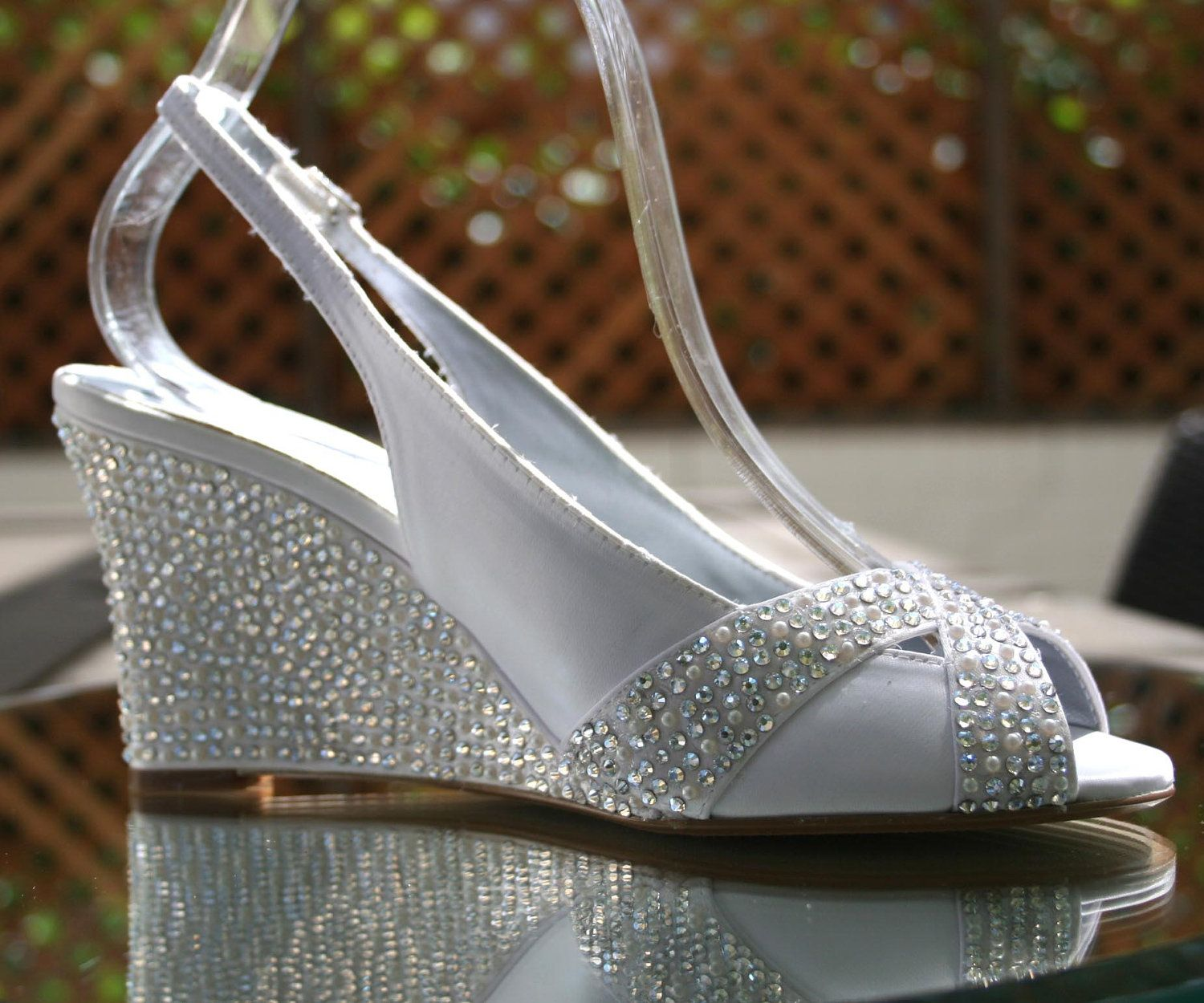 Wedding Heels With Rhinestones: Wedding Shoes -- Ivory Wedding Wedges With Ivory Pearl And