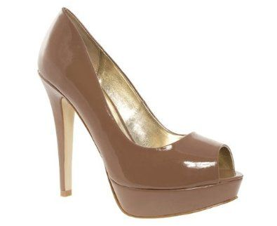 Nude Patent Rounded Peep Toe Platform Court Shoes wFYov