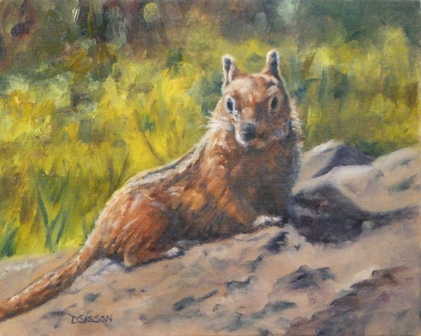 """""""Chipmunk Surprised"""" Oil on canvas, 8"""" x 10"""". A perky chipmunk is pausing on rocks as he wonders who is taking his picture. I loved his bright eyes and the lovely shadow he is casting on his perch."""