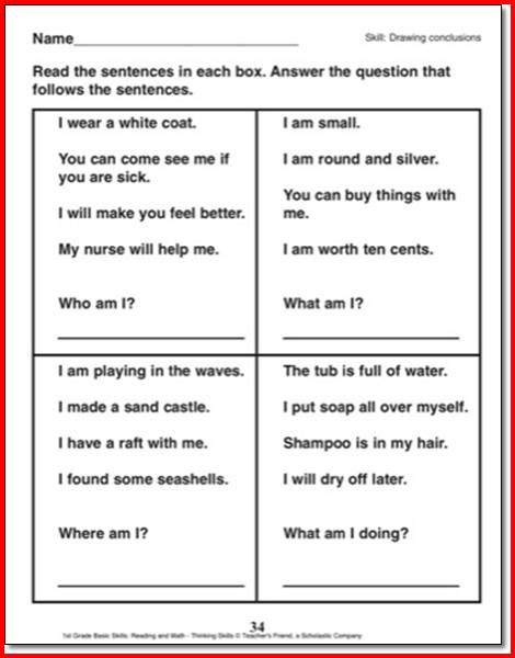 Drawing Conclusions Worksheets 3rd Grade   Drawing ...