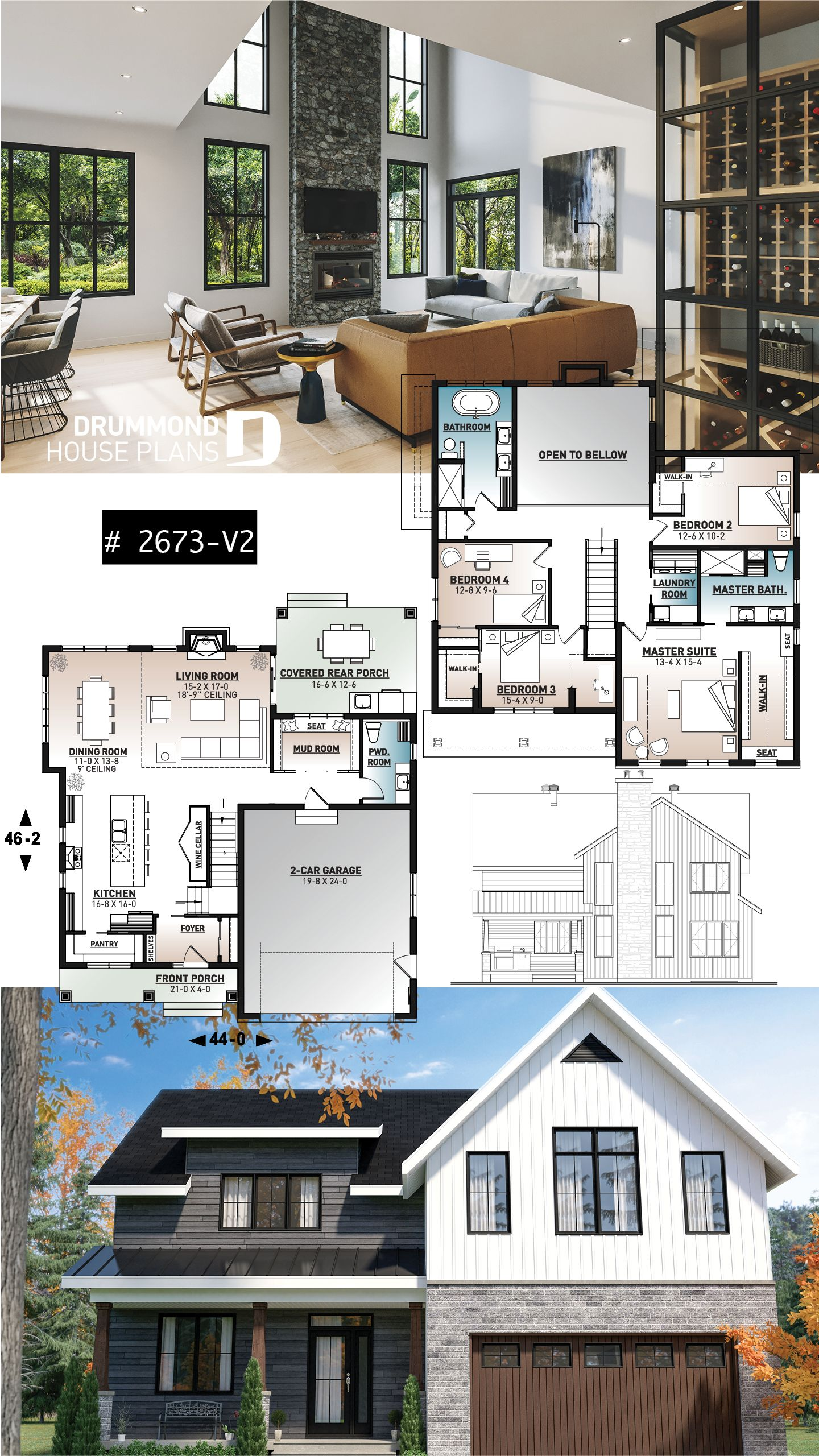 Photo of modern farmhouse home plan 4 bedroom