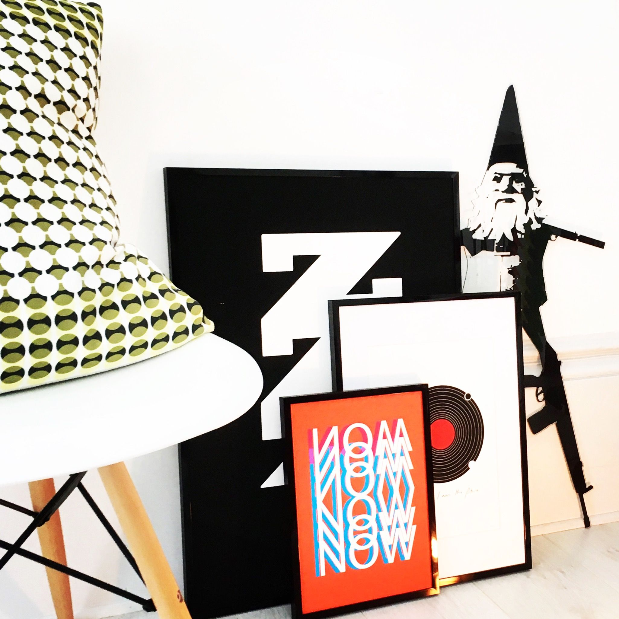 A collection of our popular prints 'NOW', 'ZZzz Arthouse' and 'Future Bright', all framed and looking fab.