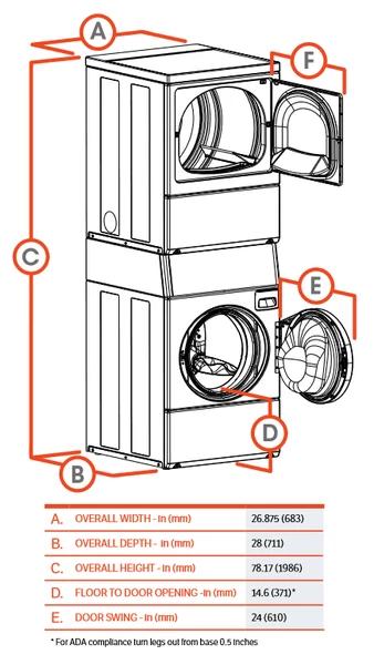 Speed Queen Stackable Washer Gas Dryer Combo Stgncasp115tw01
