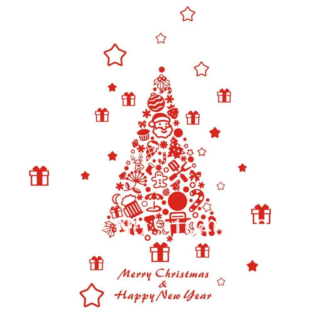 Large Vinyl Merry Christmas Tree Wall Decals Quote ...