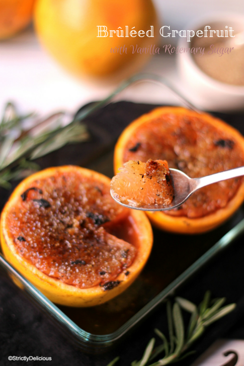 Brûléed Grapefruit with Vanilla Rosemary Sugar | StrictlyDelicious.com
