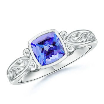 Angara Bezel-Set Tanzanite Diamond Vintage Ring With Carving in Platinum U5nx6avMLH