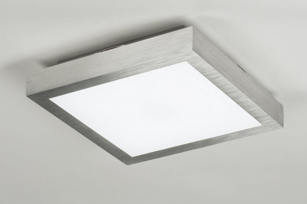 BADKAMER Plafondlamp 89401: aluminium, vierkant