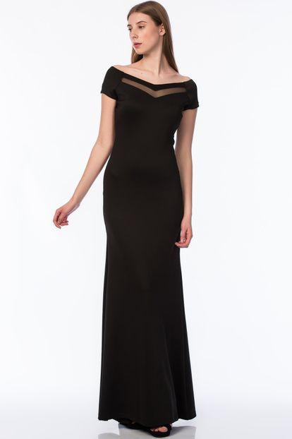 Kadin Siyah Tul Detayli Havuz Yaka Abiye Elbise Astarli 15l4408 Kadin Giyim Elbise