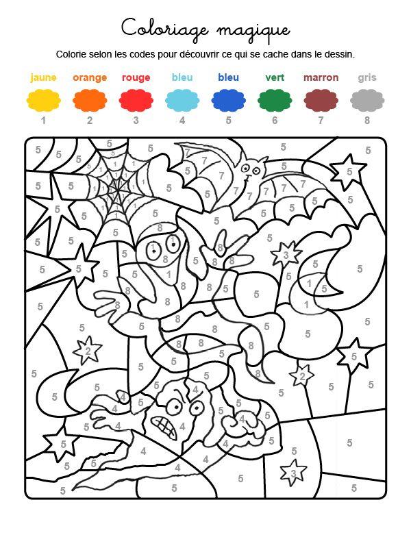 Dibujo mágico para colorear en francés de fantasma y murciélago de ...