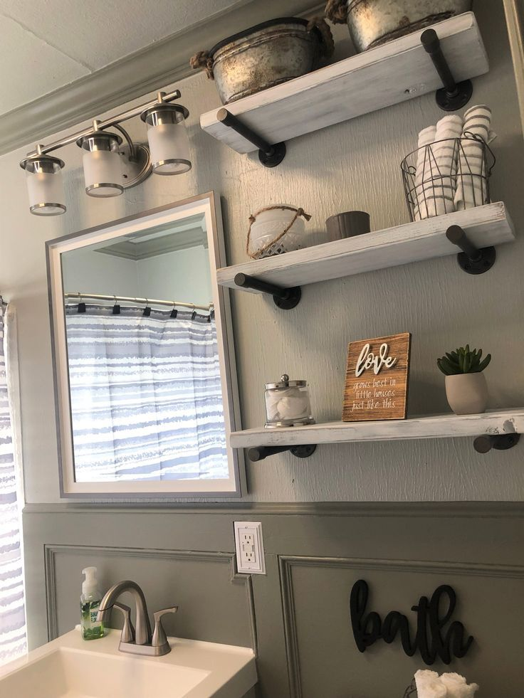 WHITE INDUSTRIAL PIPE FLOATING SHELF