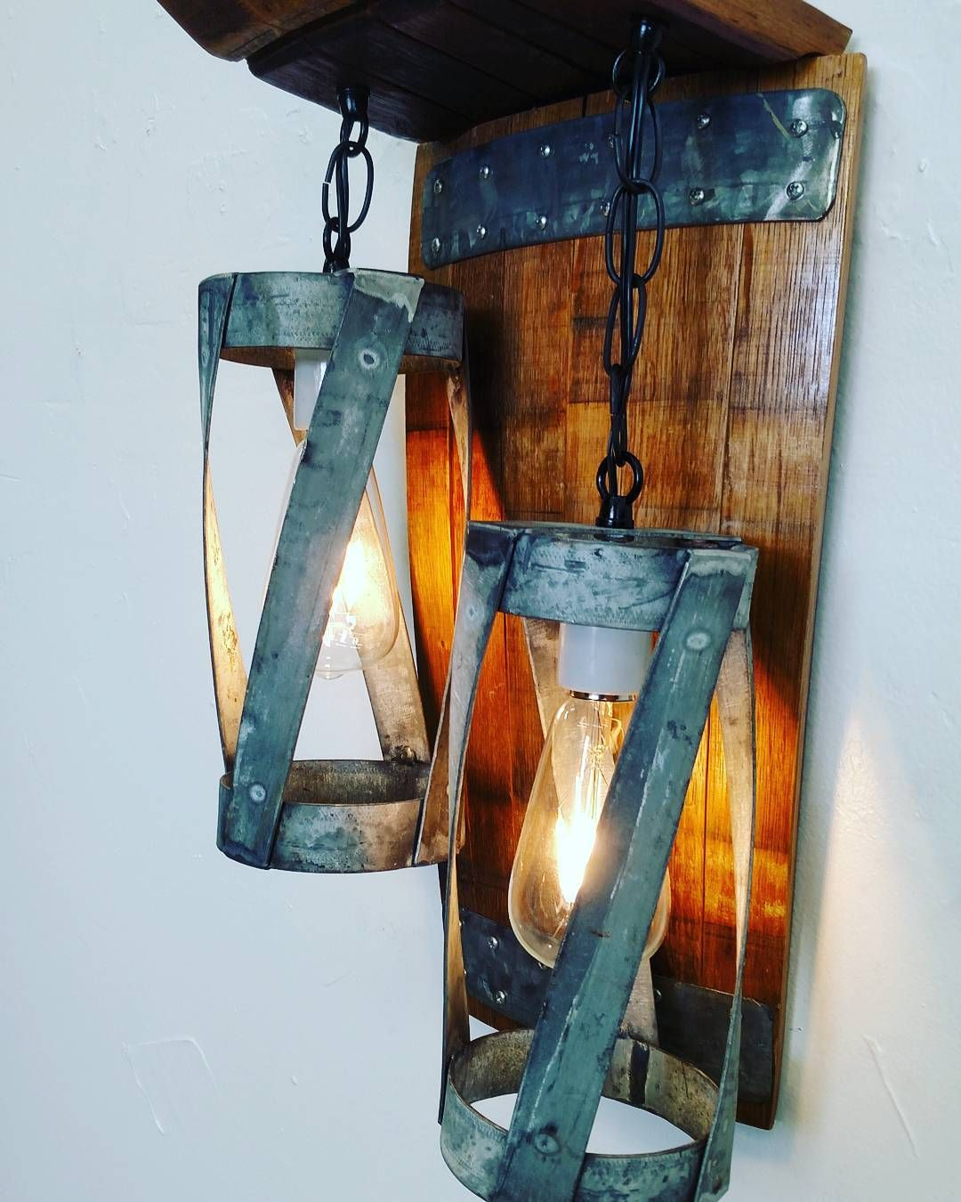 Double Pendant Wall Sconce Made Entirely From A Retired Napa Wine