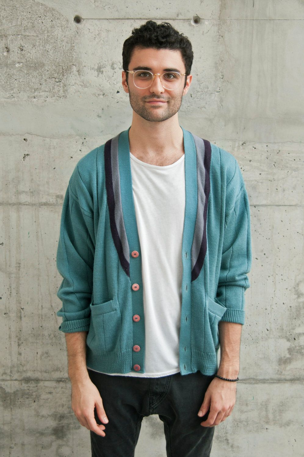 College Button Up Cardigan / Vintage Turquoise Sweater / Mens Long ...