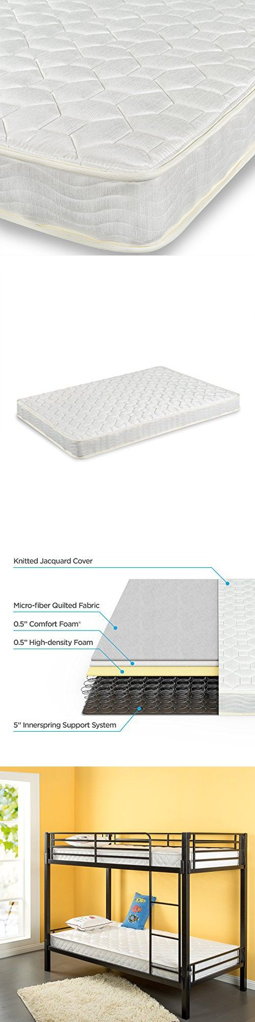 zinus 6 inch spring twin mattress 2 pack perfect for bunk beds