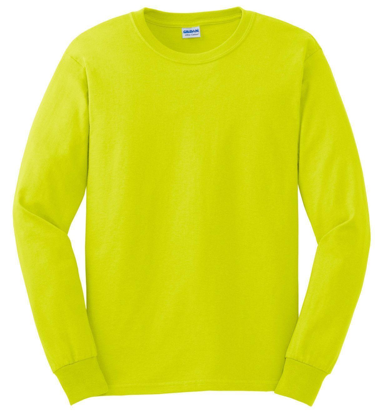 cf9513a552e4 Gildan G2400 Ultra Cotton Long Sleeve Hi Vis Safety Green or Safety Orange T -Shirt