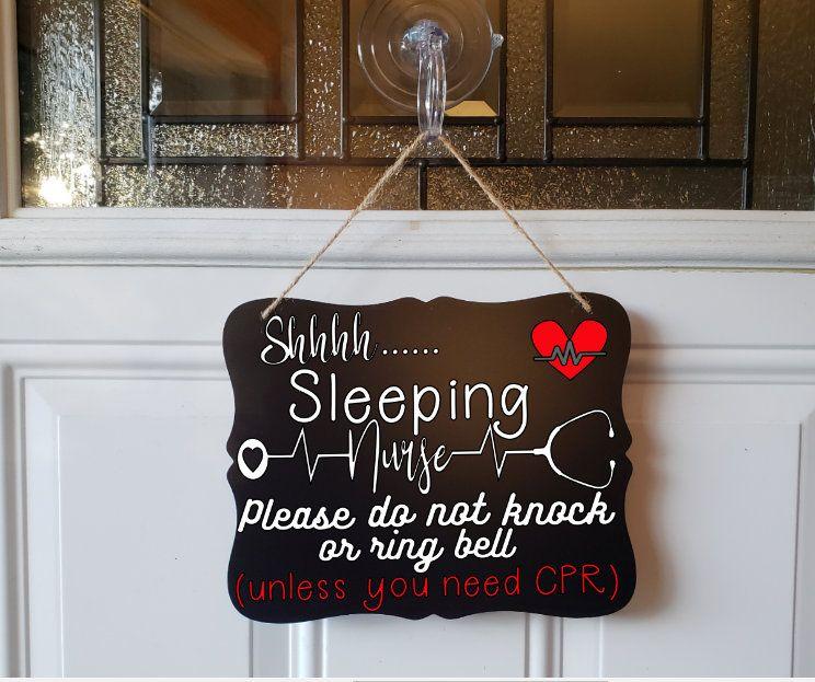 Large Size Wooden Sleeping Nurse Door Hanger 12x9 Sleeping Nurse Sign Day Sleeper Sign Please Don/'t Knock Sign