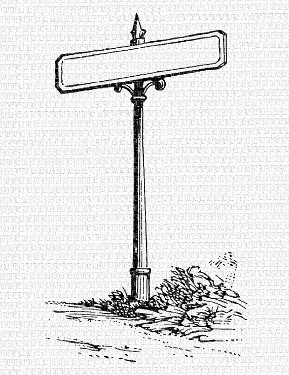 Blank Street Sign Post Vintage Clip Art High Quality Printable Graphic Instant Download 2612 Clip Art Vintage Street Signs Etsy Printables