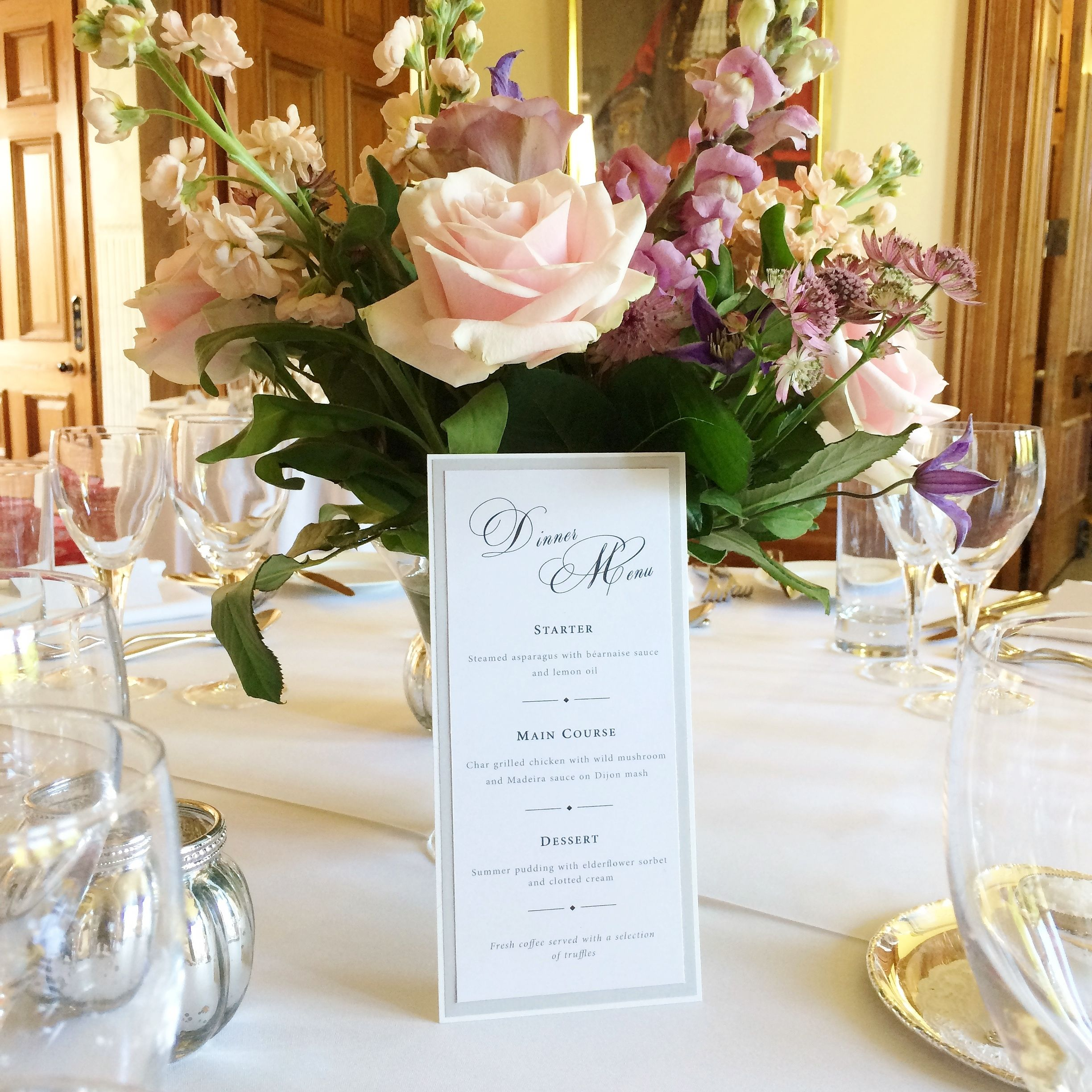 Wedding anniversary decoration ideas at home  Wedding table styling details menu  The Mansion House Bristol