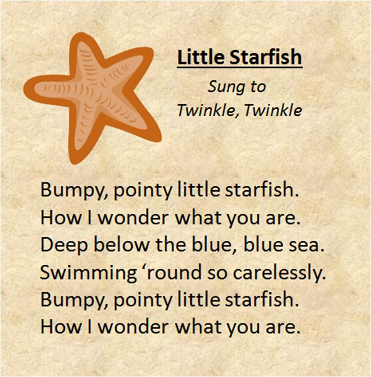 Little starfish sung to the tune of twinkle twinkle for Fish songs for preschoolers