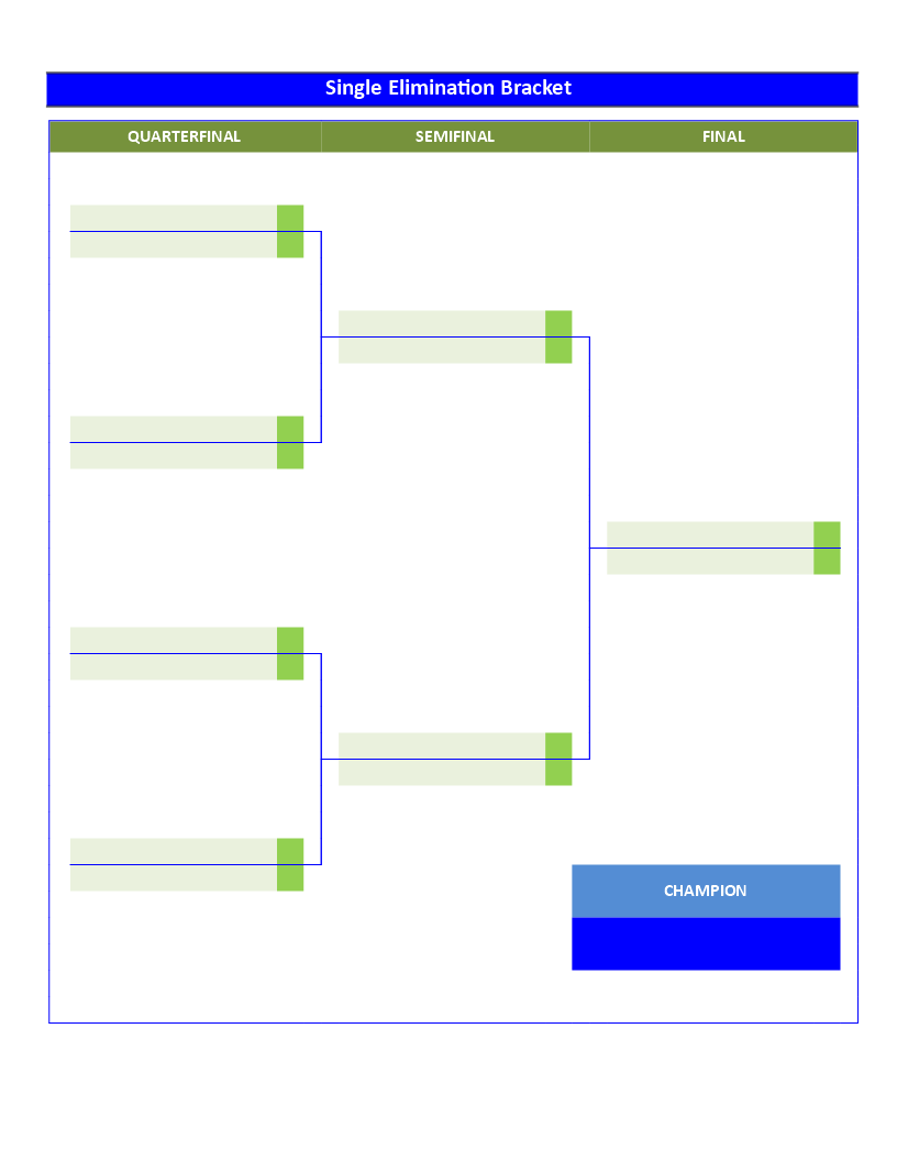 Single Elimination Tournament Bracket  Rounds  Tournament