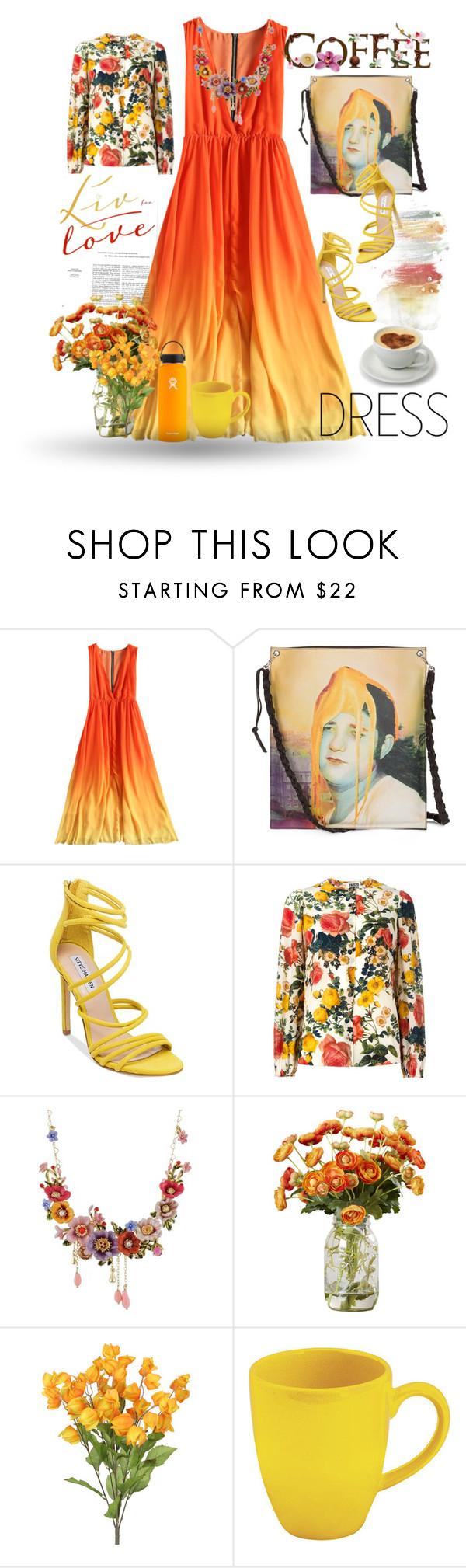 """Orange and yellow"" by oxyk23 ❤ liked on Polyvore featuring Steve Madden, FAUSTO PUGLISI, Les Néréides, Waechtersbach, Hydro Flask and twotonedress"