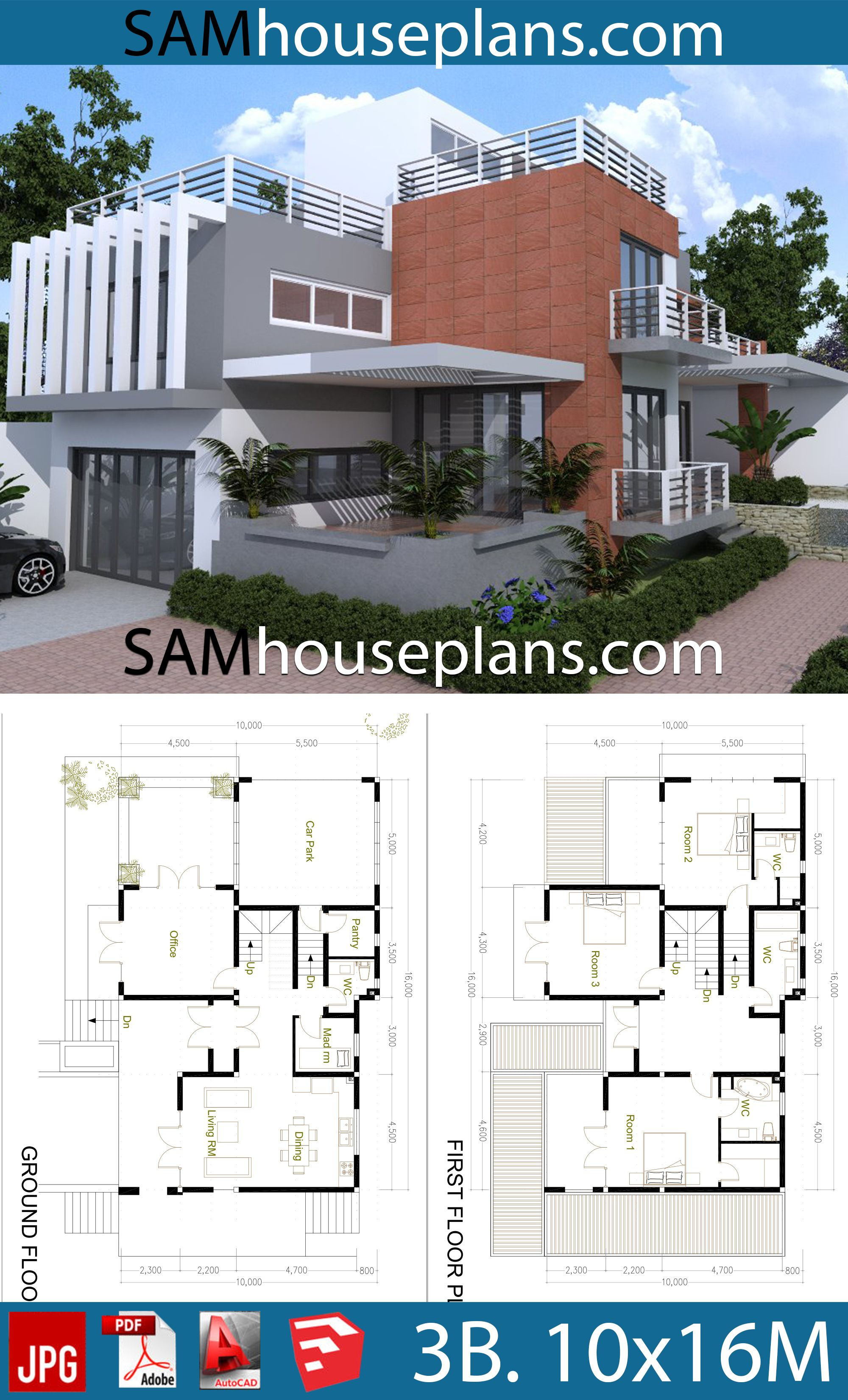 House Plans 10x16 With 3 Bedrooms Sam House Plans In 2020 House Plans House Plans Mansion Bungalow Floor Plans