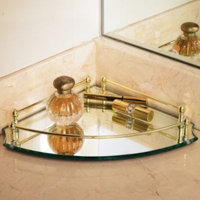showcase your bath accessories beauty products and more atop the belmont personalized corner vanity tray that adds elegance to your bath and helps utilize - Bathroom Accessories Vanity Tray
