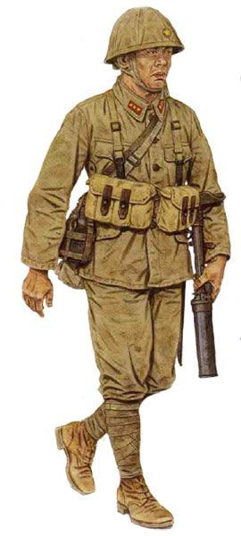Japanese Infantryman with Japanese Type 89 Grenade Discharger Knee