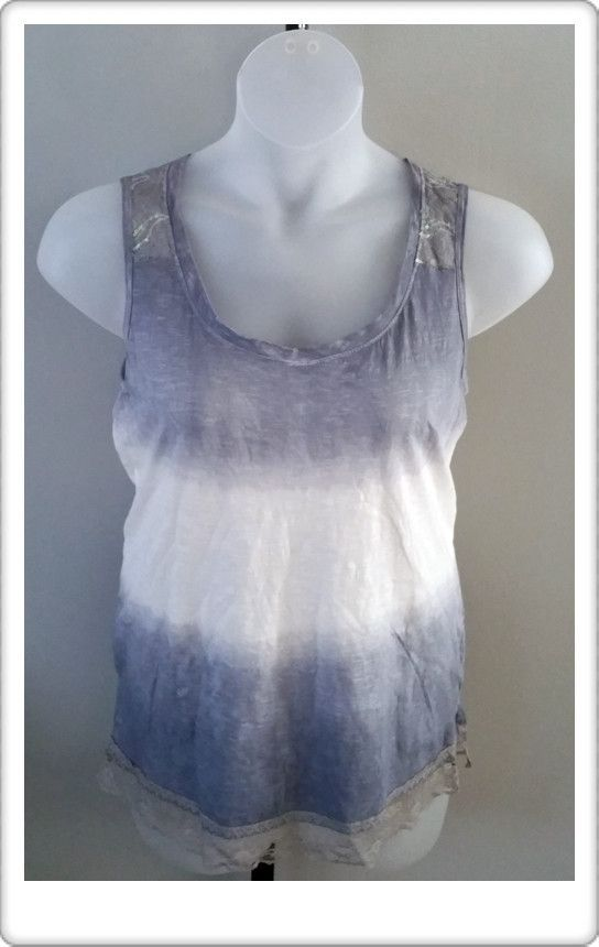 Spense Knits Slate Blue and White Ombre Style Knit Tank Size XL NWT