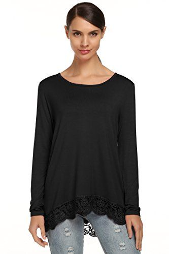 8f2cc9393f Meaneor Women Cotton Tunic Top Lace Trim Casual Loose Shirt Black 1 XXLarge      See this great product.Note It is affiliate link to Amazon.