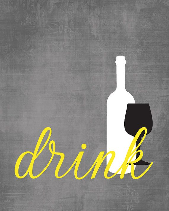 Kitchen Wall Art Print Set Eat Drink Love Yellow Grey Staff